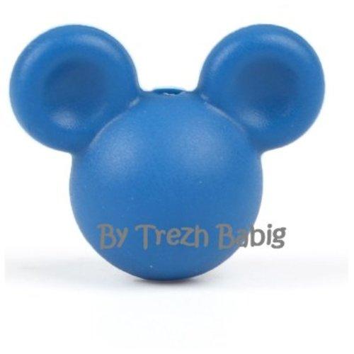 Perle silicone tête de souris style mickey bleu marine