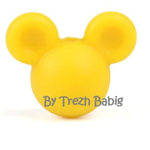 Perle silicone tête de souris style mickey jaune moutarde