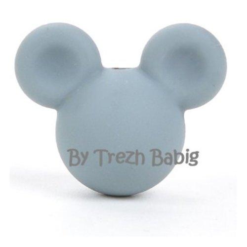Perle silicone tête de souris style mickey gris foncé