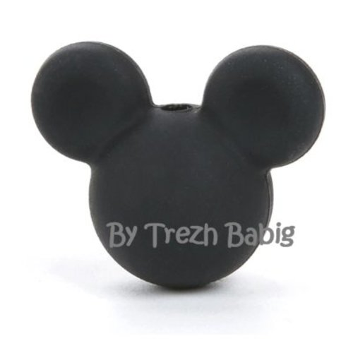 Perle silicone tête de souris style mickey noir