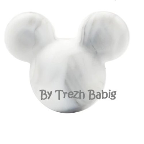 Perle silicone tête de souris style mickey blanc mabré