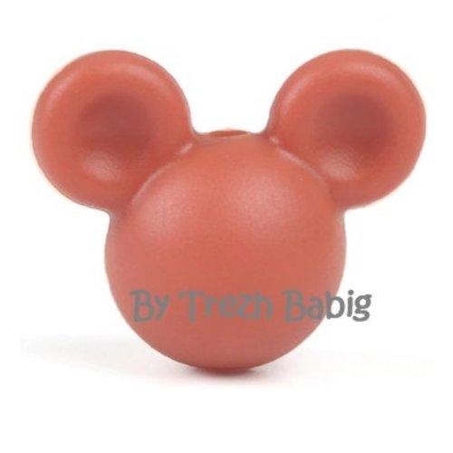 Perle silicone tête de souris style mickey marron