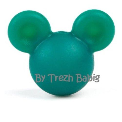 Perle silicone tête de souris style mickey vert sapin