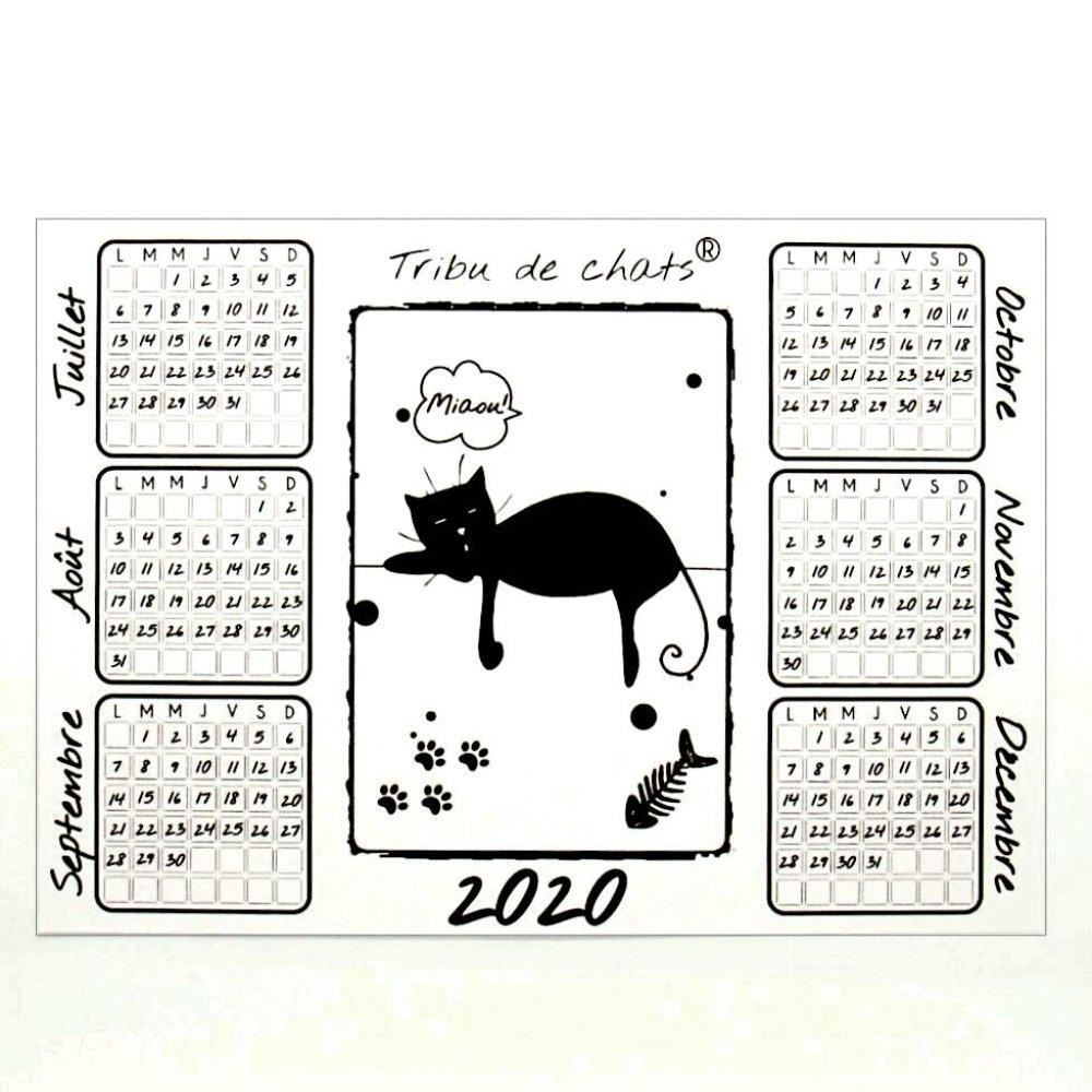 Calendrier 2020 sous-main de bureau, recto verso, motif chat dormant, Tribu de chats