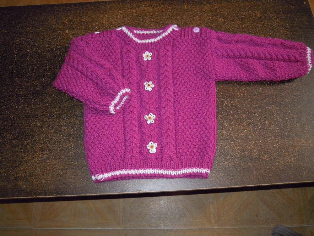pull irlandais tricoté main taille 2 ans