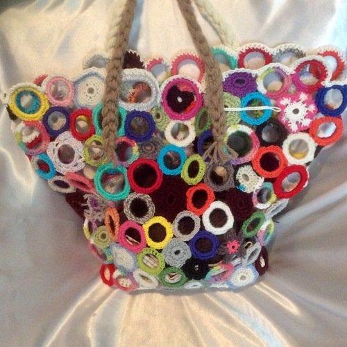 grande sac-panier au crochet acrylique multicolore fantasia style boho fait mains pour dame