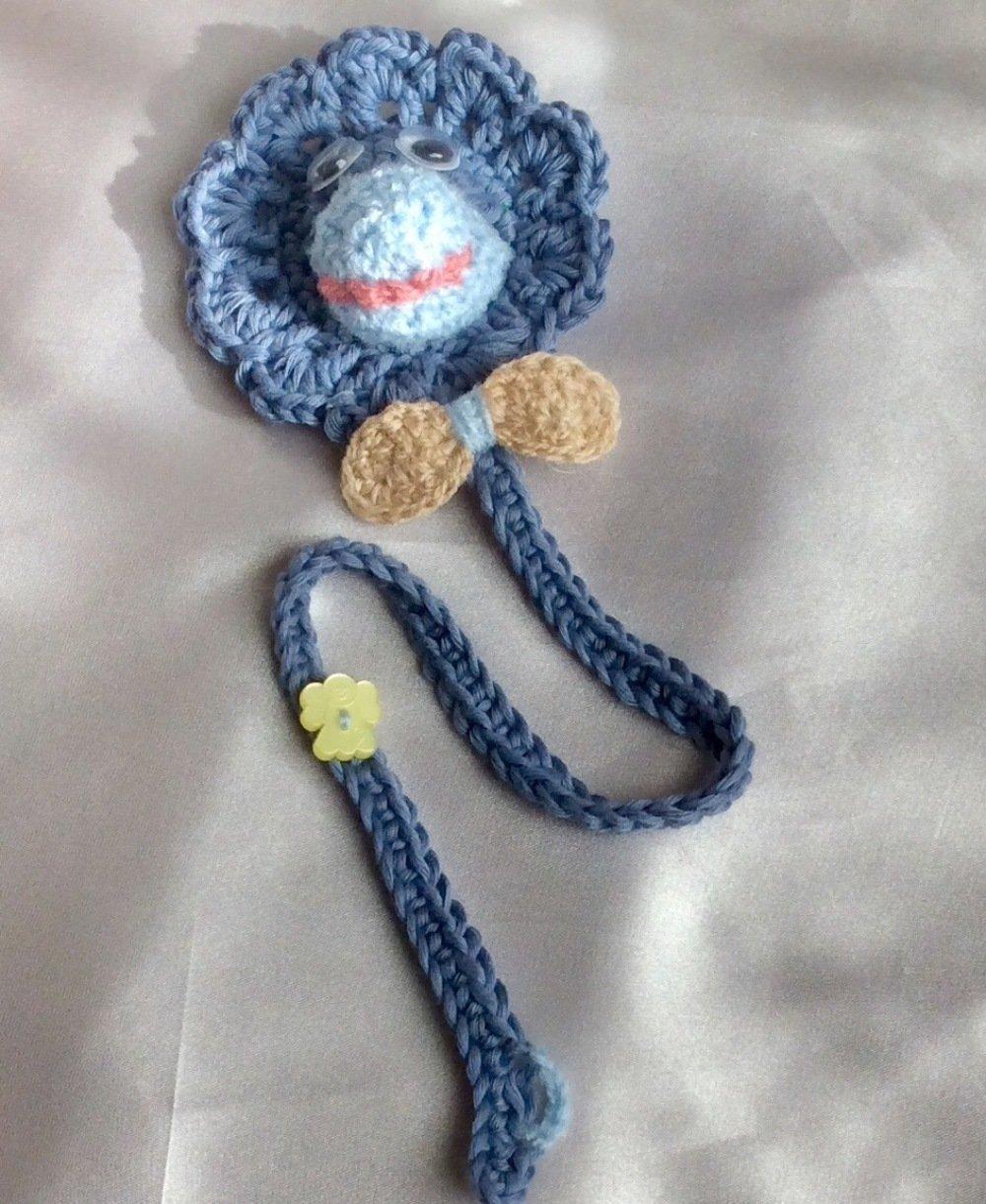 ATTACHE TÉTINE DOUDOU au crochet coton avec pochette plastique de tétine