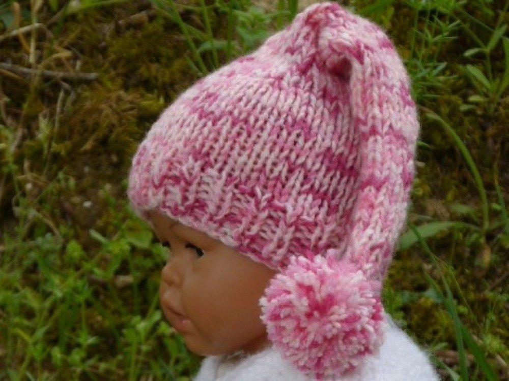 Bonnet lutin rose pour bébé ( naissance)