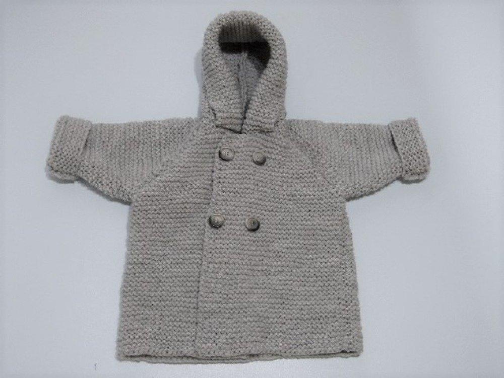 Manteaux bébé raglan en laine tricoté main