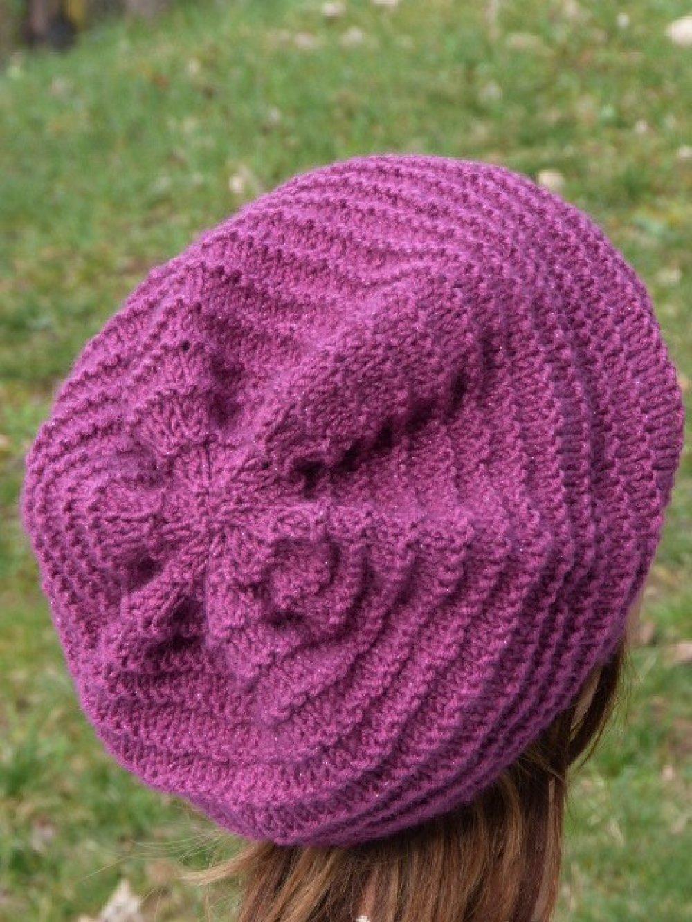 Béret femme violet effet brillant pailleté