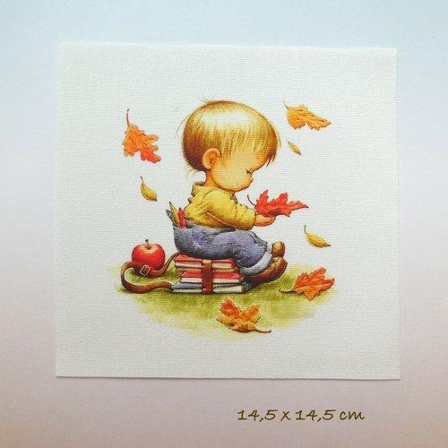 Appliqué vignette - motif enfant garçon automne feuilles