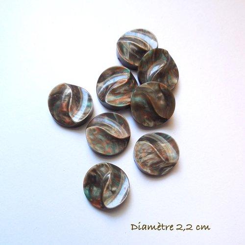 8 boutons ronds vintage marron aspect marbré
