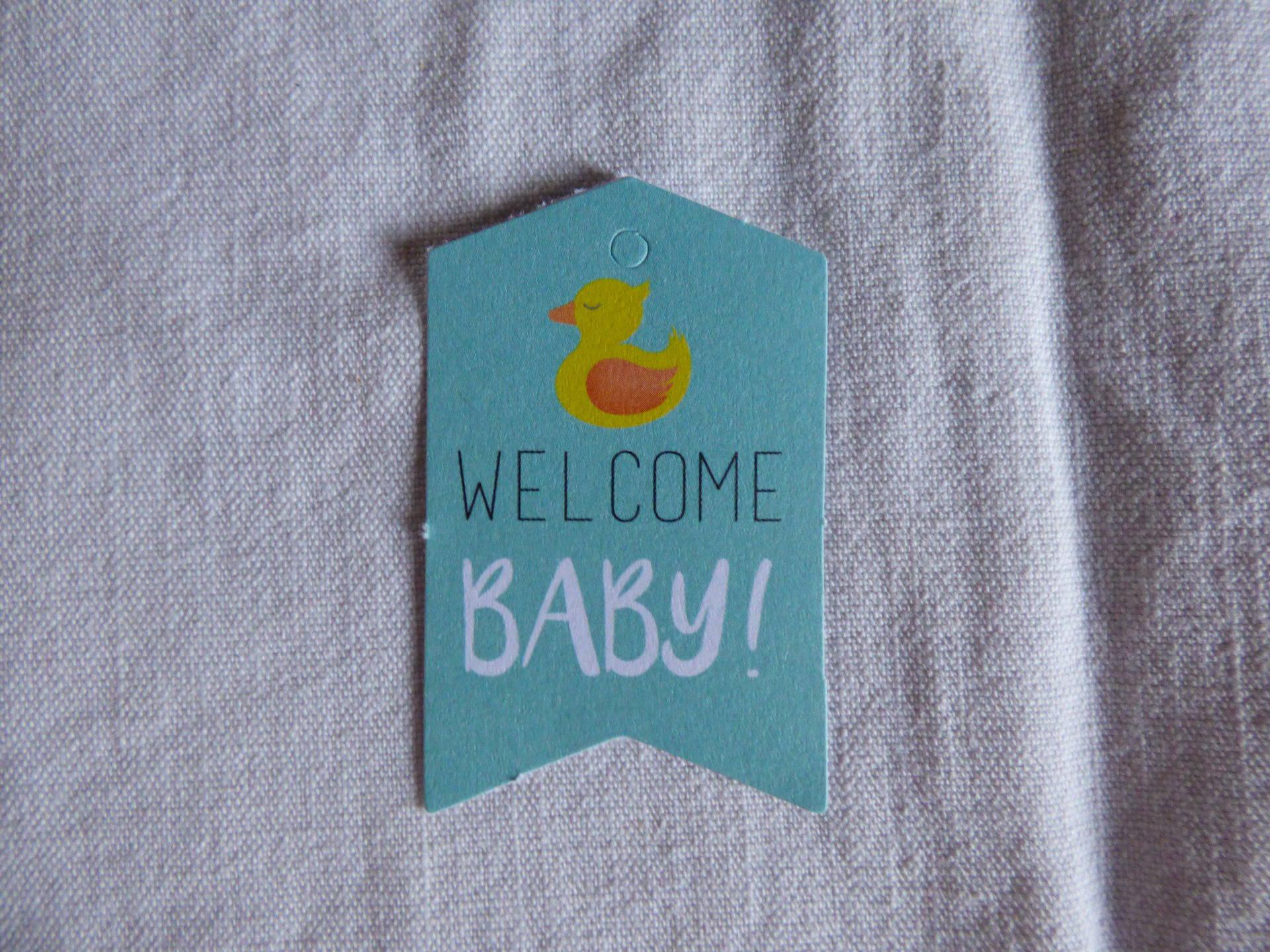 """tag en papier cartonné """"welcome baby"""""""