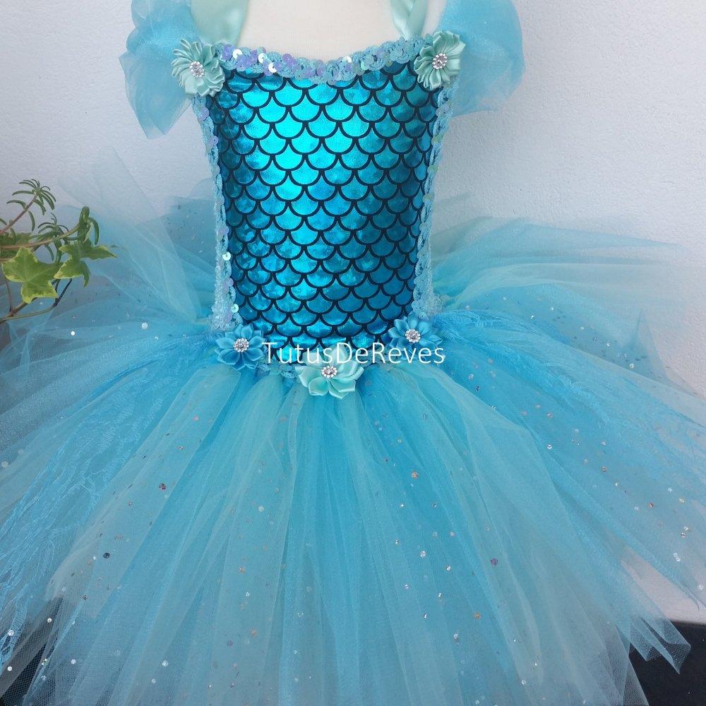Costume Fille De Sirene Robe Tutu Bleu Enfant 1 A 5 Ans Deguisement Fille Costume Carnaval Un Grand Marche