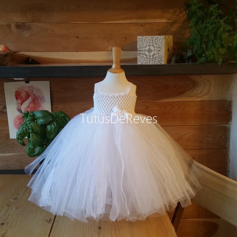 Robe De Bapteme Robe Tutu De Ceremonie Petite Fille Tulle Blanc Avec Dentelle Un Grand Marche
