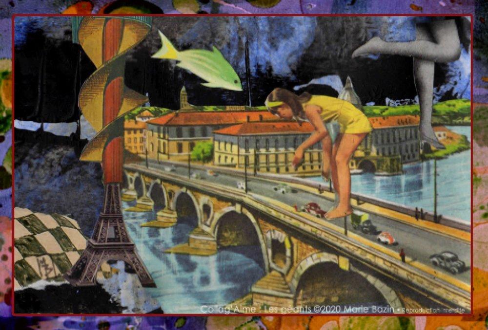 CARTE POSTALE collage vintage : Les Géants. Création Marie Bazin