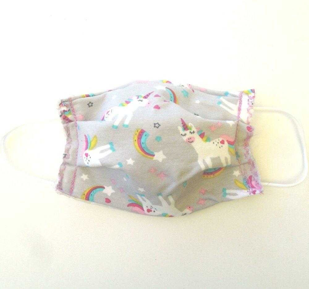 Masque de protection 3 couches Enfant Licornes Etoiles