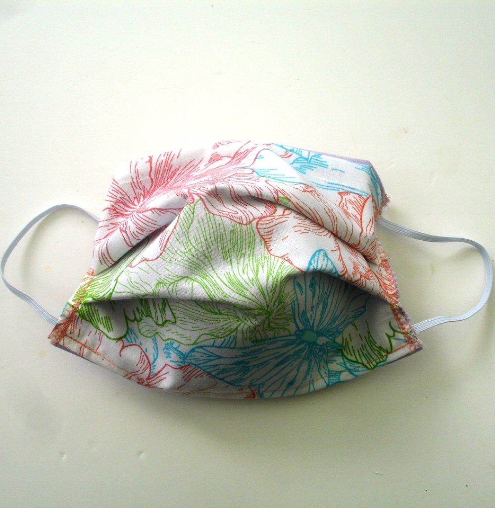 Masque de protection alternatif  3 épaisseurs Papillons multicolores