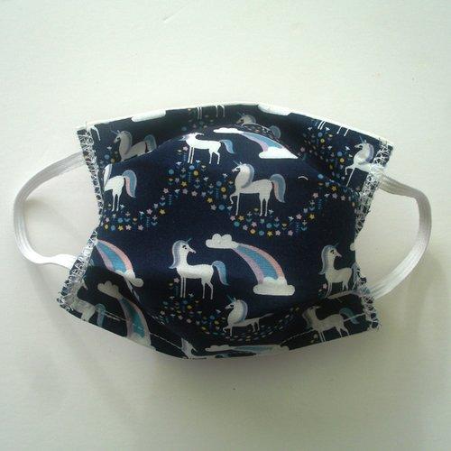 Masque de protection enfant licornes bleues nuits