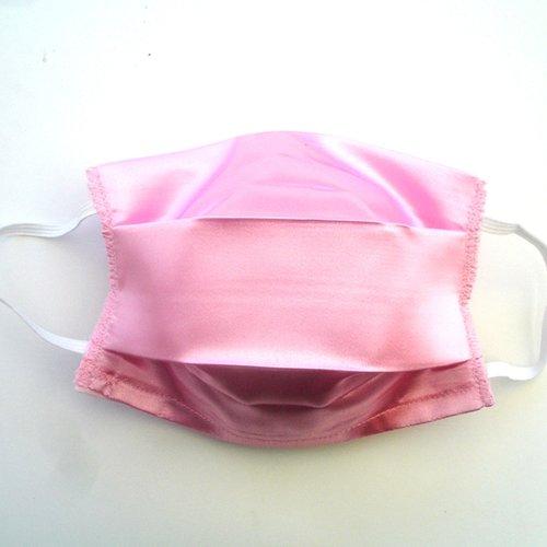 Masque de protection adulte satin de coton rose categorie 1