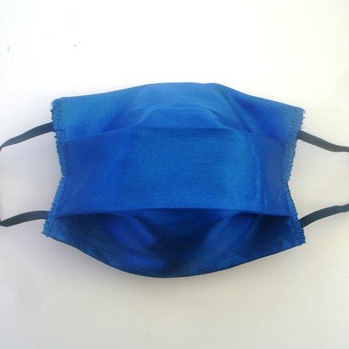 Masque de protection adulte satin de coton bleu categorie 1