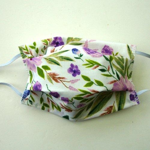 Masque de protection alternatif adulte fleurs printemps mauves  categorie 1