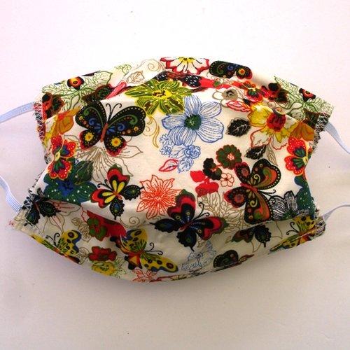 Masque de protection alternatif adulte papillons fleurs categorie 1