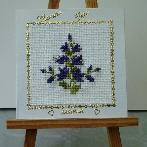 Carte fête des mamans bouquet violet