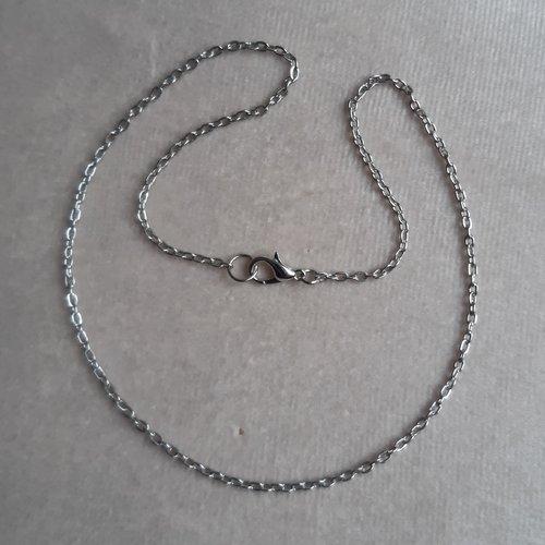 1 collier 42 cm argenté foncé
