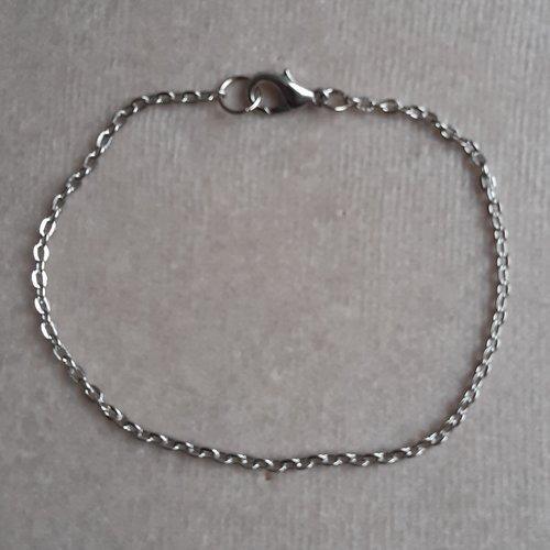 1 bracelet 20 cm argenté foncé