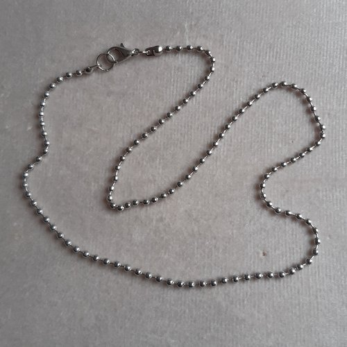 1 collier 45 cm maille billes 2 mm