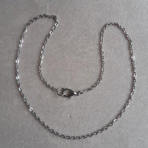 1 collier 40 cm argenté foncé