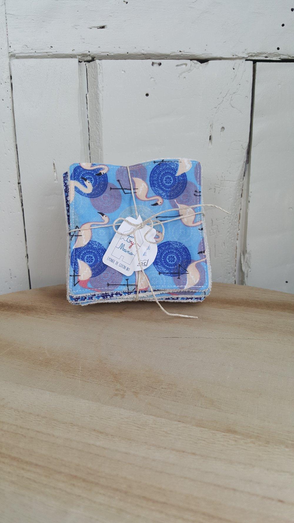Lot de 10 lingettes bio, tons bleu & rose 10x10 cm