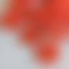 15 petits boutons orange corail satiné 14 mm, 2 trous, semi transparents en plastique
