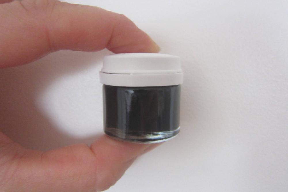 Peinture acrylique noir, pour supports bois, fer, alu, PVC, portant l'ECOLABEL, petit pot verre d'environ 10ml
