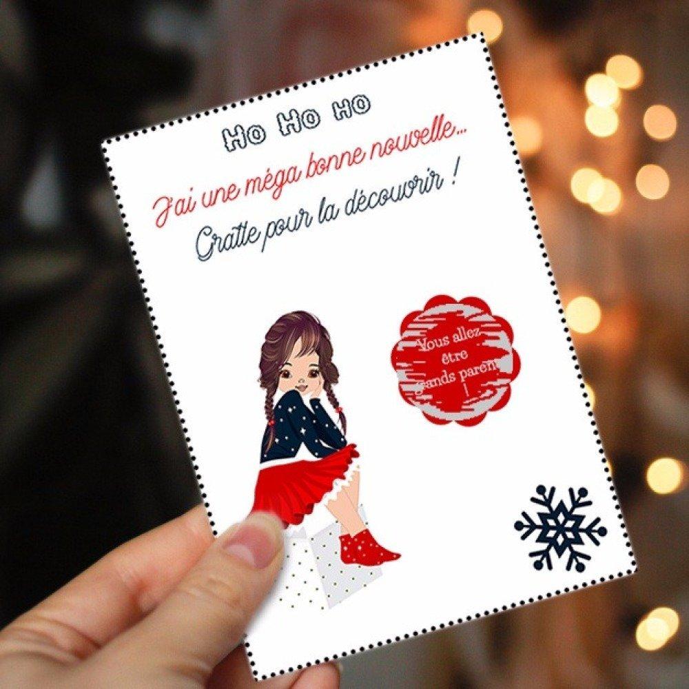 Carte à Gratter Noël Message Caché Personnalisable Pour Vos Demande Témoin Annonce Grossesse Cadeau 1