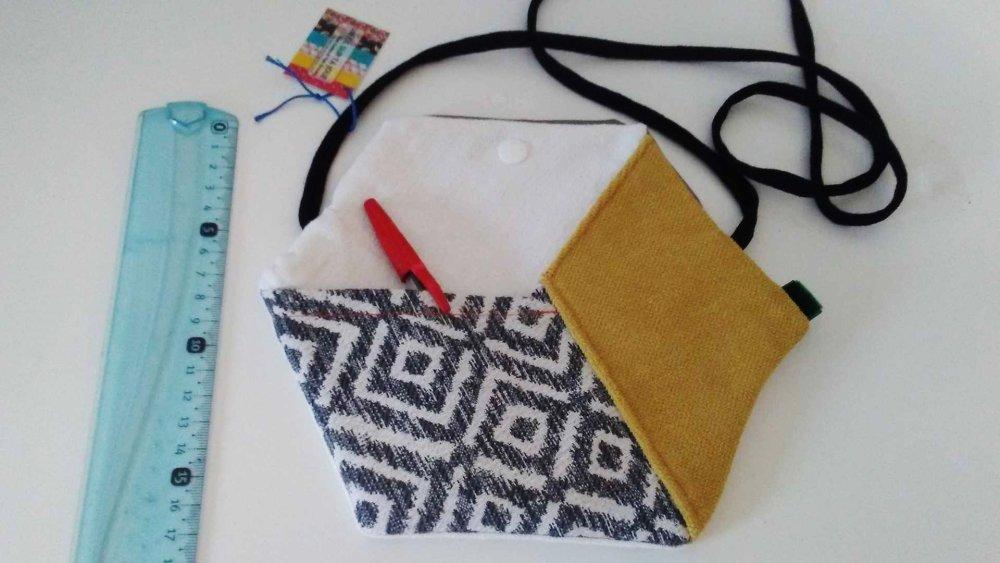 Sac Hexagone patchwork cube graphique coton lin jaune gris