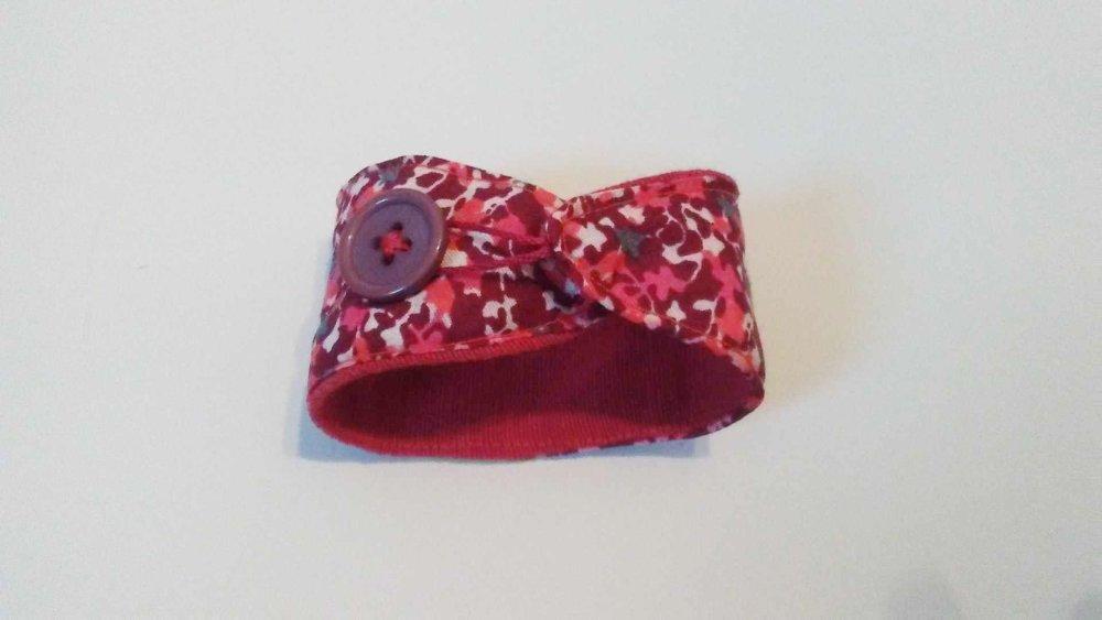 Bracelet manchette tissu graphique japonais liberty rouge rose
