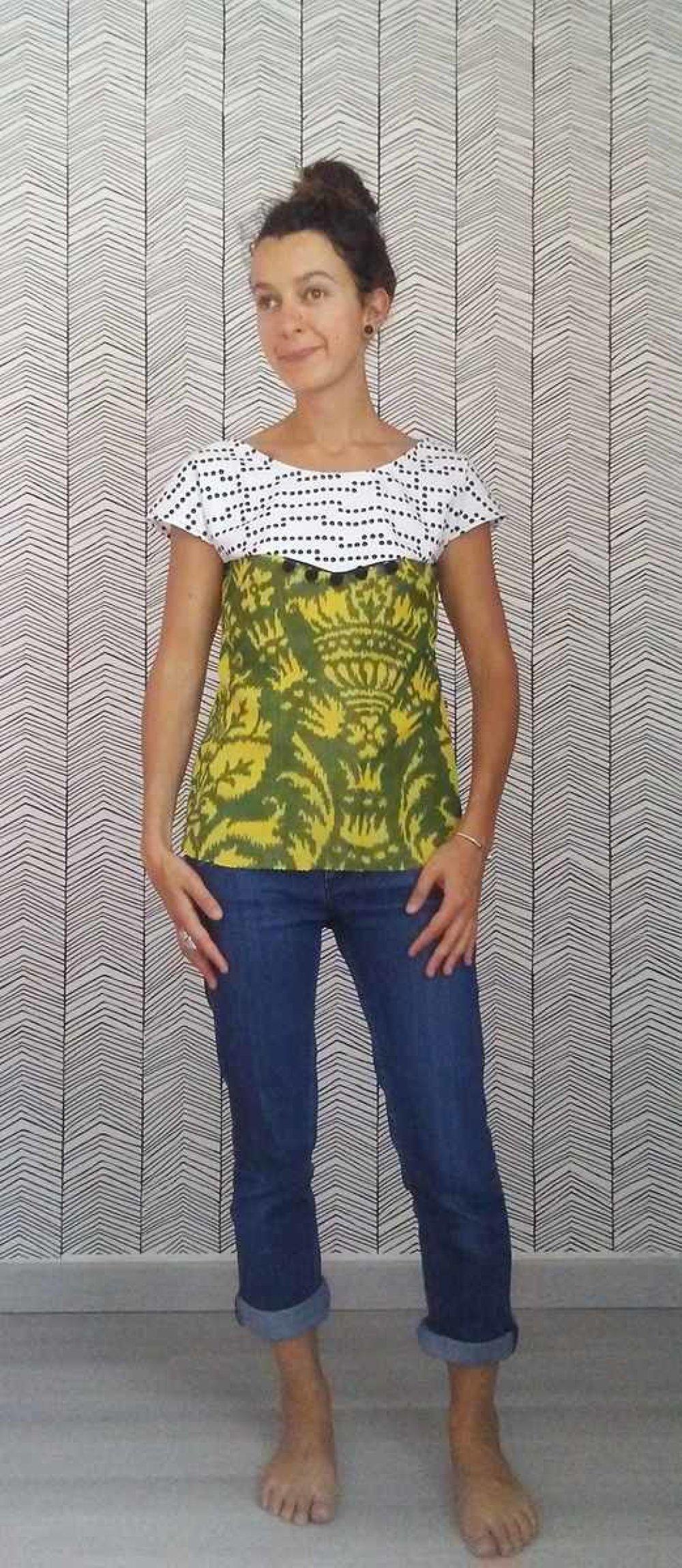 Tee-shirt top dos mi nu losange 36 38 imprimé jungle graphique