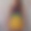 Robe double gaze moutarde empiècement baroque 36 38 grand décolleté dos