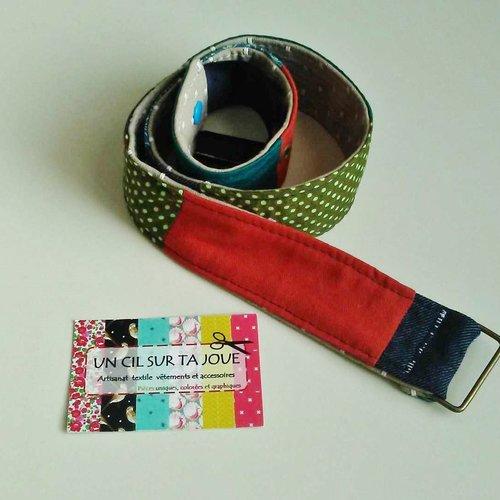 Ceinture tissus patchwork colorée graphique pois et jean brut