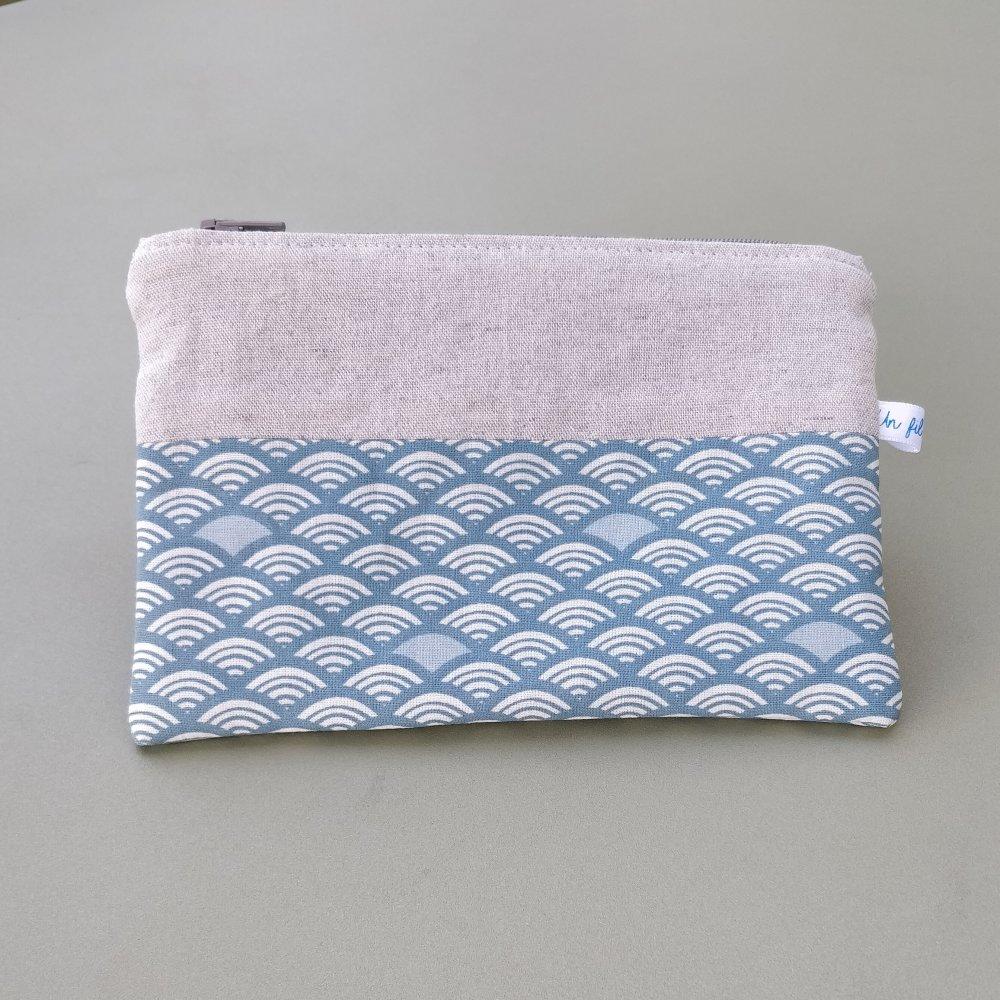 Pochette zippée coton et lin