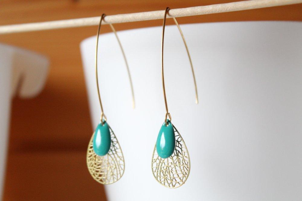Boucles d'oreilles turquoise et doré, goutte lasercut, pendante, idée cadeau, anniversaire, noël