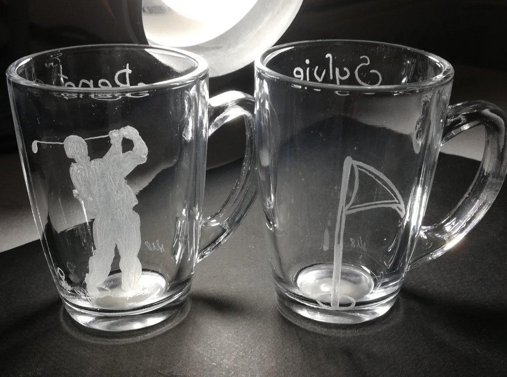 Duo de tasses à café de 7 cm personnalisation offerte - Gravure  d'un joueur de golf et d'un tee