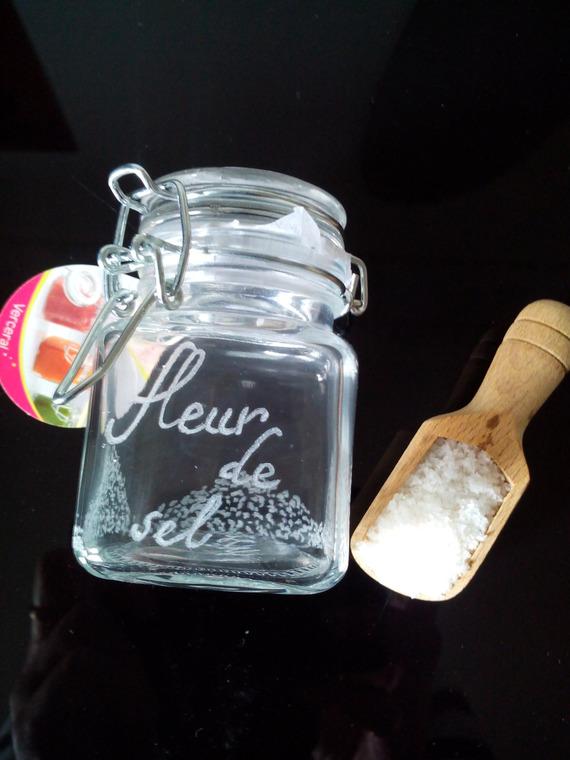 Petit pot en verre avec fermeture en métal de 7.5 cm personnalisable - Gravure fleur de sel