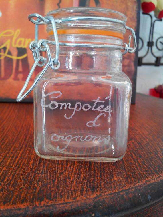 Petit pot en verre avec fermeture en métal de 7.5 cm personnalisation offerte - Gravure compotée d'oignons