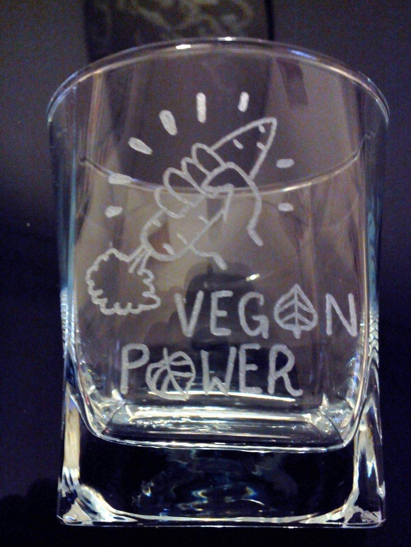 Verre à eau de 25 cl personnalisation offerte - Gravure Vegan Power