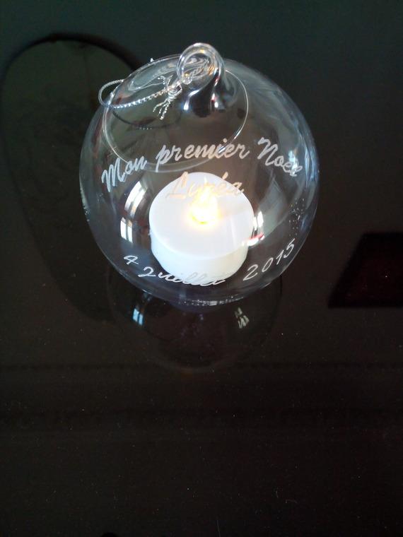 """Boule de Noël en verre ouverte à suspendre personnalisation offerte - Gravure """" Mon premier Noël """" + prénom et date"""