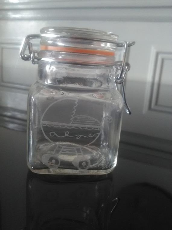 Cadeau pour parrain/marraine - Pot en verre avec fermeture en métal de 7.5 cm personnalisation offerte  - Gravure d'un landeau