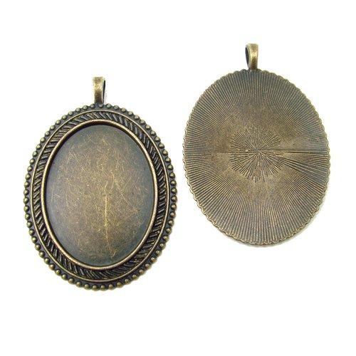 1 support pour cabochon ovale 30x40mm couleur bronze ancien